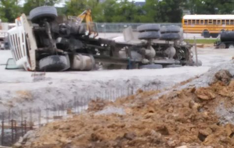 Overturned Construction Vehicle on Liberty's New Theater Site