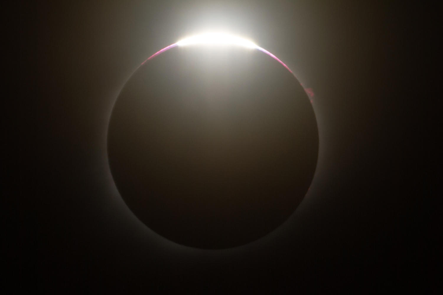 The last portion of the sun is exposed before the eclipse reaches complete totality.