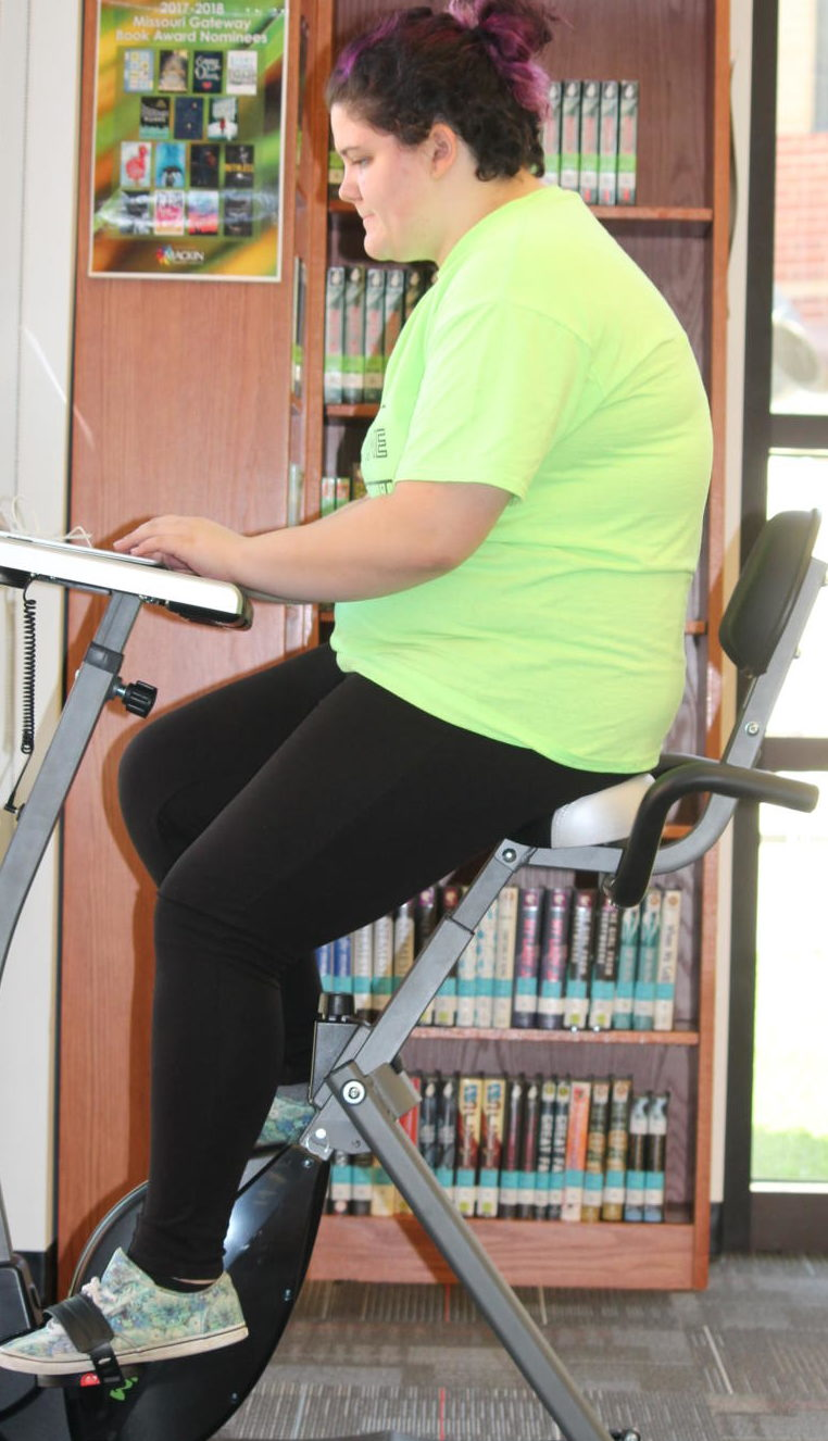 Senior Alysan Amann is one of the first students to try out Liberty's new bicycles.