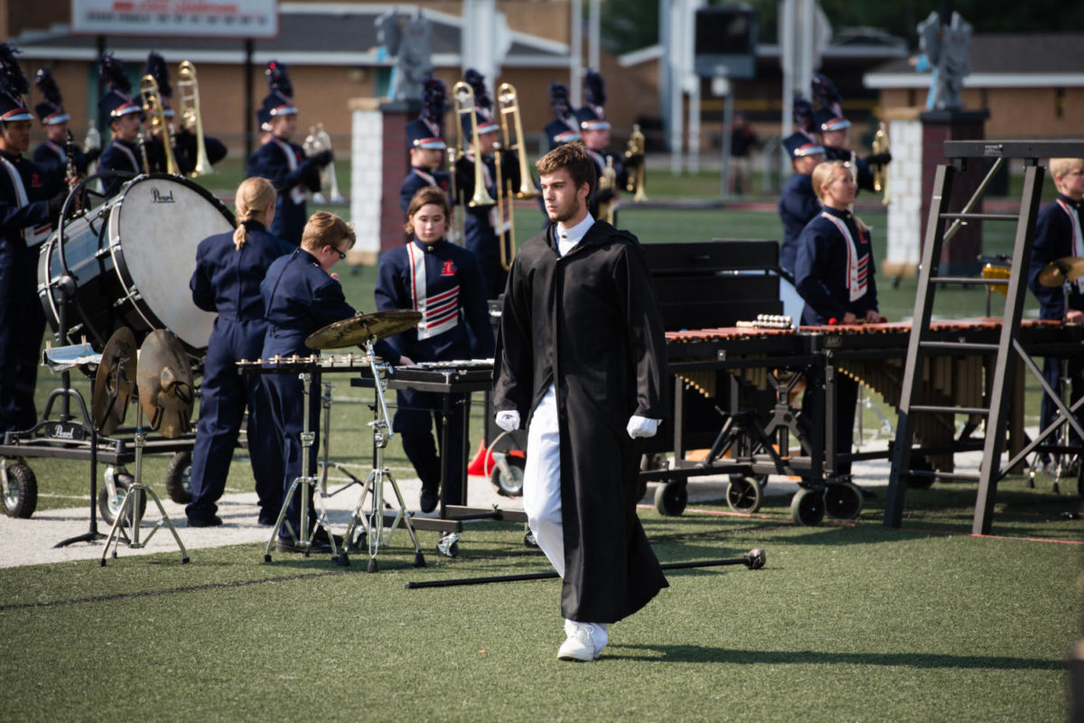 Mitchell Coughran is one of the three drum majors for the Liberty Eagles Regiment.