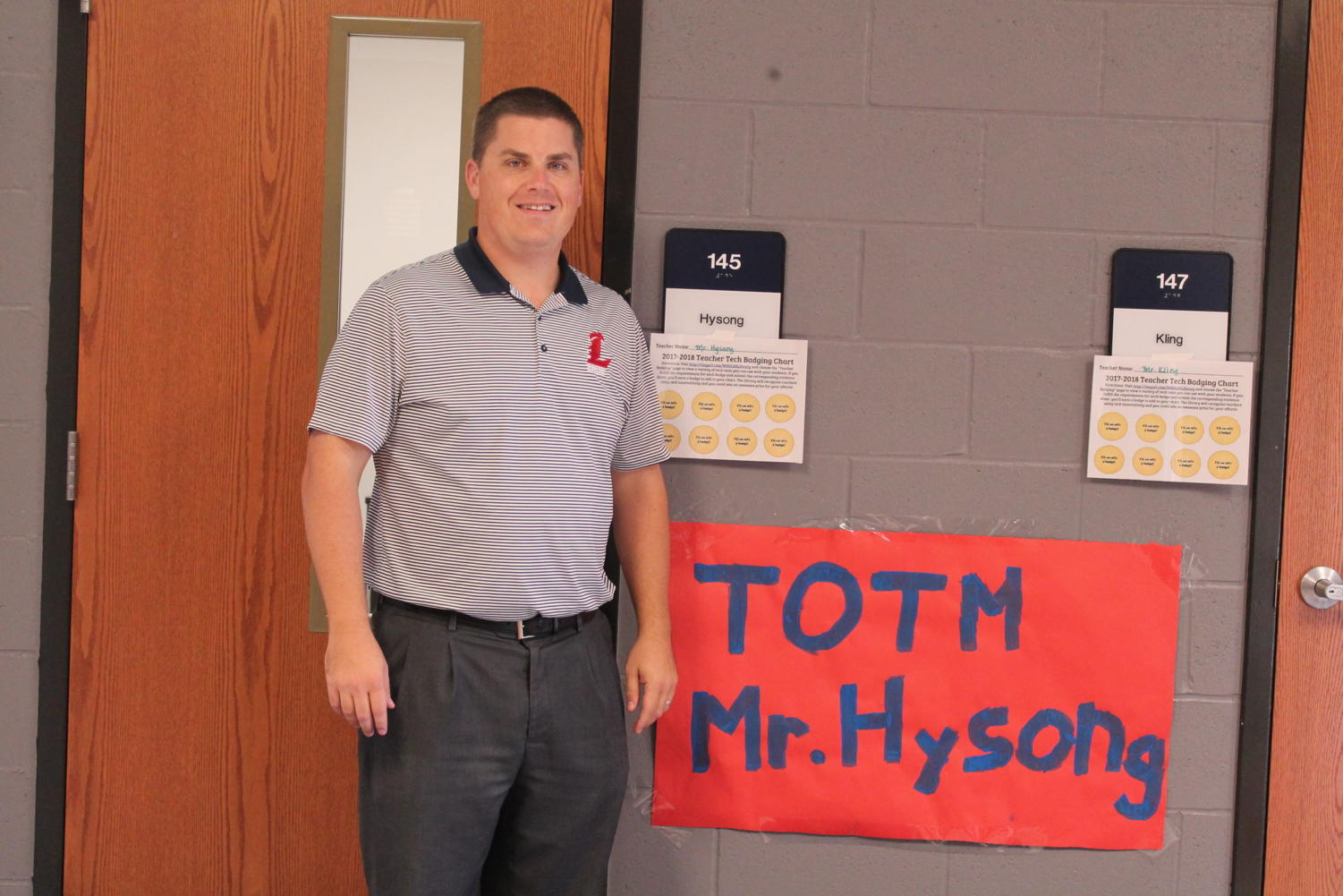 Mr. Hysong was named October's teacher of the month after continuous hard work.