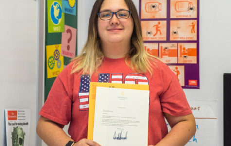 Hailey Peterson with her letter from President Trump.