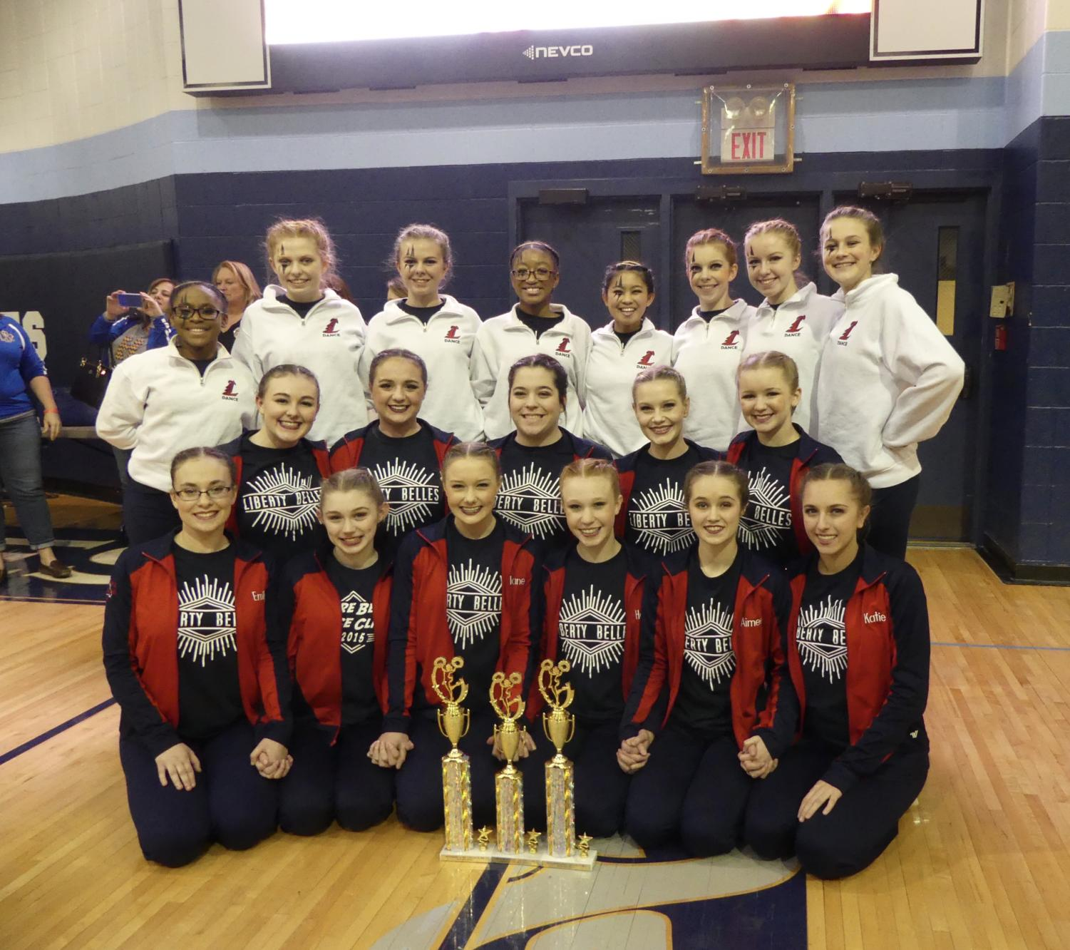 Varsity placed first in pom and second in jazz. Additionally, JV placed first in their mix dance.
