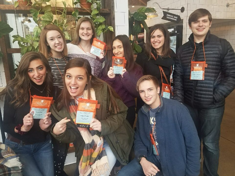 Liberty Thespians go out to eat after getting checked into ThesCon in downtown St. Louis. Front: Alyssa Fay, Abby Falgout, Devin Eckardt. Back: Annette Oliphant, Alisha Grant, Ally Linck, Emily Stabile, Ben Gagliano.