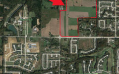 The location purchased by the Wentzville School District in relation to it's surroundings.