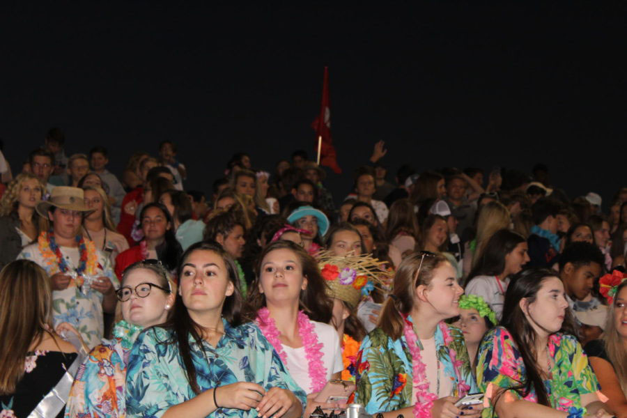 Students dress up for the beach-themed Homecoming game. The students who get involved in fun, school-wide spirit weeks helps to build a sense of community and involvement.