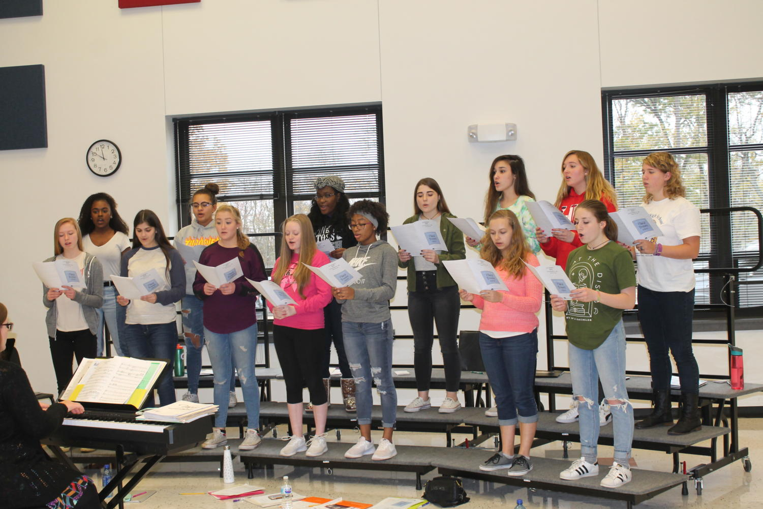 Treble Select choir practices for the Wentzville Invitational earlier in the school year. Treble Select received a 1 rating at Large State Ensemble.