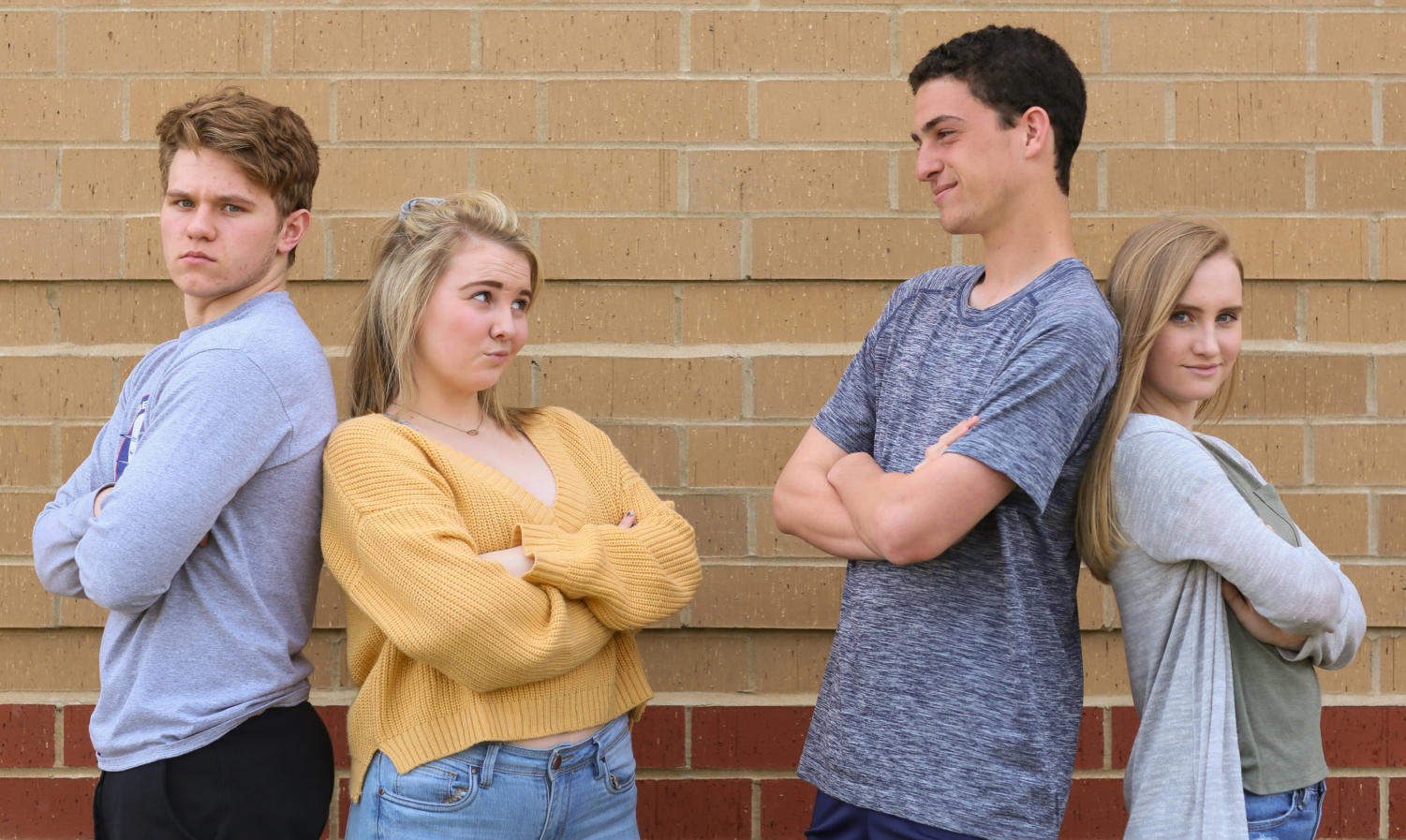 (left to right) Juniors Hunter Perkins and Marlee Doniff face off against Evan Sacks and Kara Collier in StuCo's presidential election. Doniff and Sacks are running for president, while Perkins and Collier are running for Vice President.