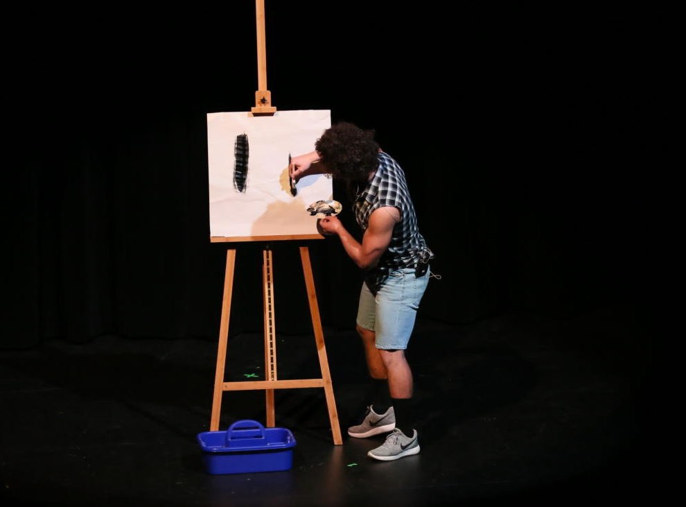 Senior Tito Plaza performs his act where he impersonated Bob Ross as a body builder.