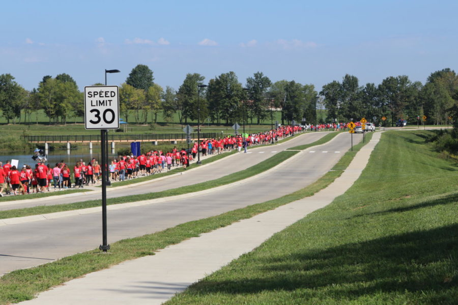 Community members walked 2.3 miles on and around Wentzville Parkway.