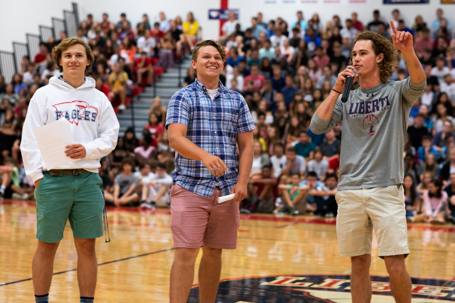 Carson Brown, Hunter Perkins and Nolan Bone talked to the crowd about the Eagles Nest and how to get involved on the first day of school.