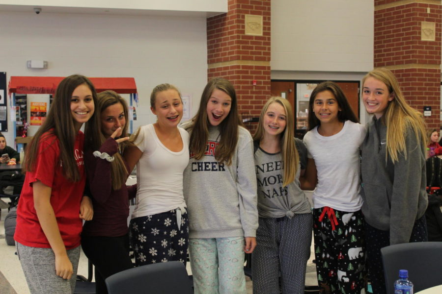 Students show off their spirit by donning their pajamas on the first day of spirit week.