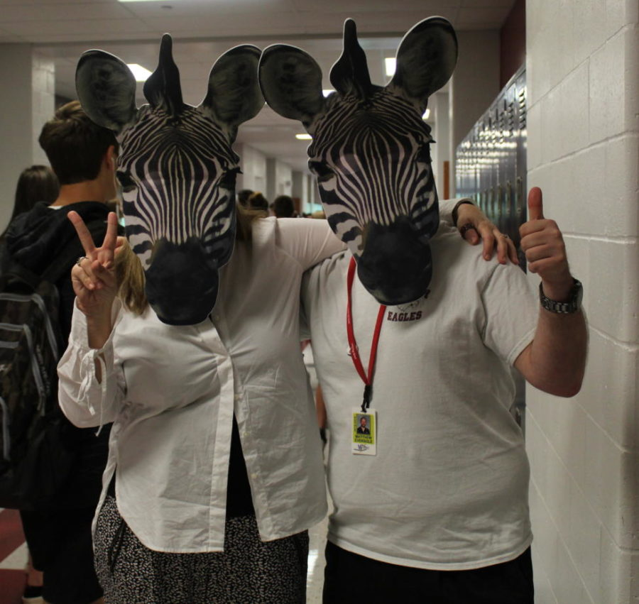 Ms. T-O and Mr. Eversole wore matching masks as part of spirit weeks animal print day.