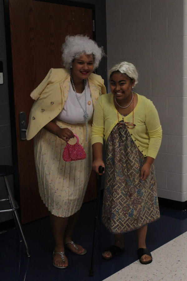 Seniors Autumn Jones and Chasteanne Salvosa go all out for spirit weeks generation wars as they dress up as senior citizens.