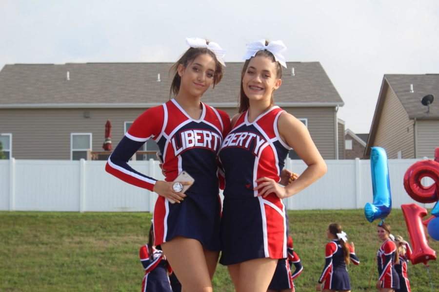 Hannah+%28left%29+and+Emily+%28right%29+are+still+cheering+for+LHS+even+after+three+years.+