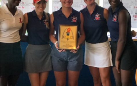 Eliana Moore, Grace Pickering, Zoee Harrington, Kelly Karre, and Jade Moore led the varsity team to their third conference title in a row on Sept. 27.