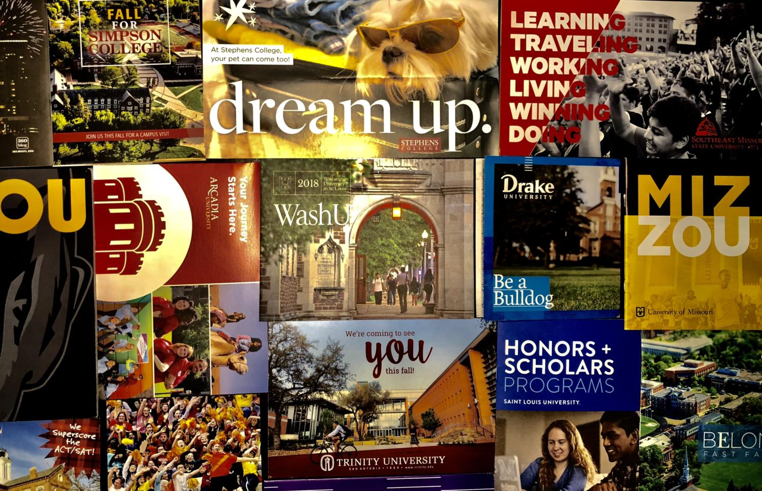 Colleges send letters and information to get students interested and informed about their college.