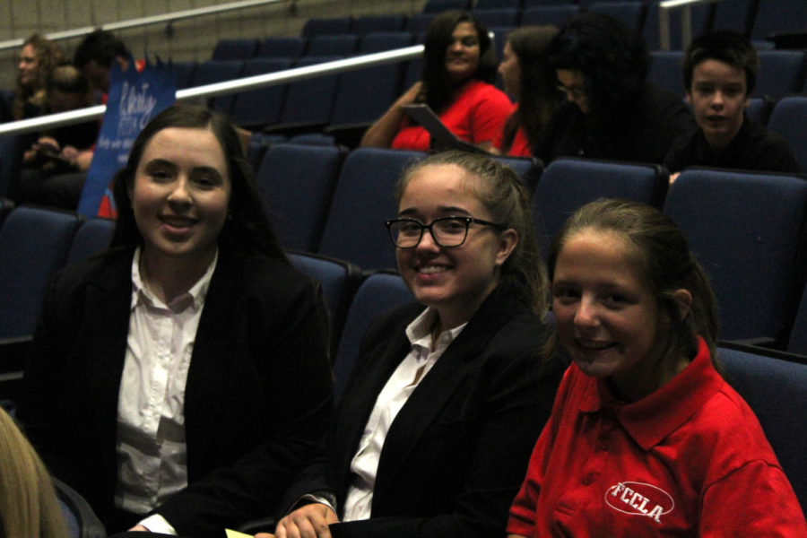 Juniors, Katelyn Yoder and Emma Benesek, alongside Senior Abigail Visconti discuss past events they have participated in within FCCLA.