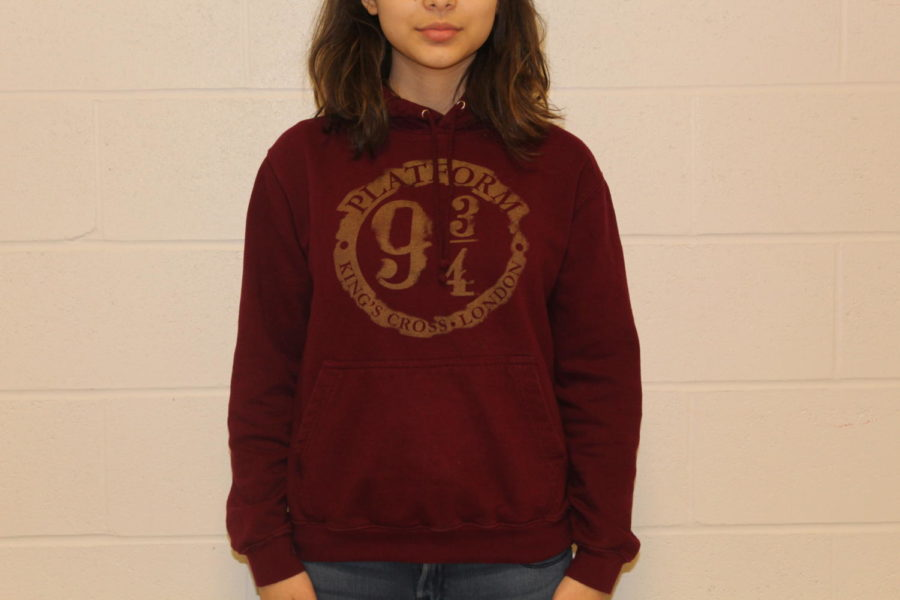 Sophomore+Irem+Inan+wears+her+%22Hogwarts+Express%22+sweatshirt+in+preparation+for+the+movie+night.