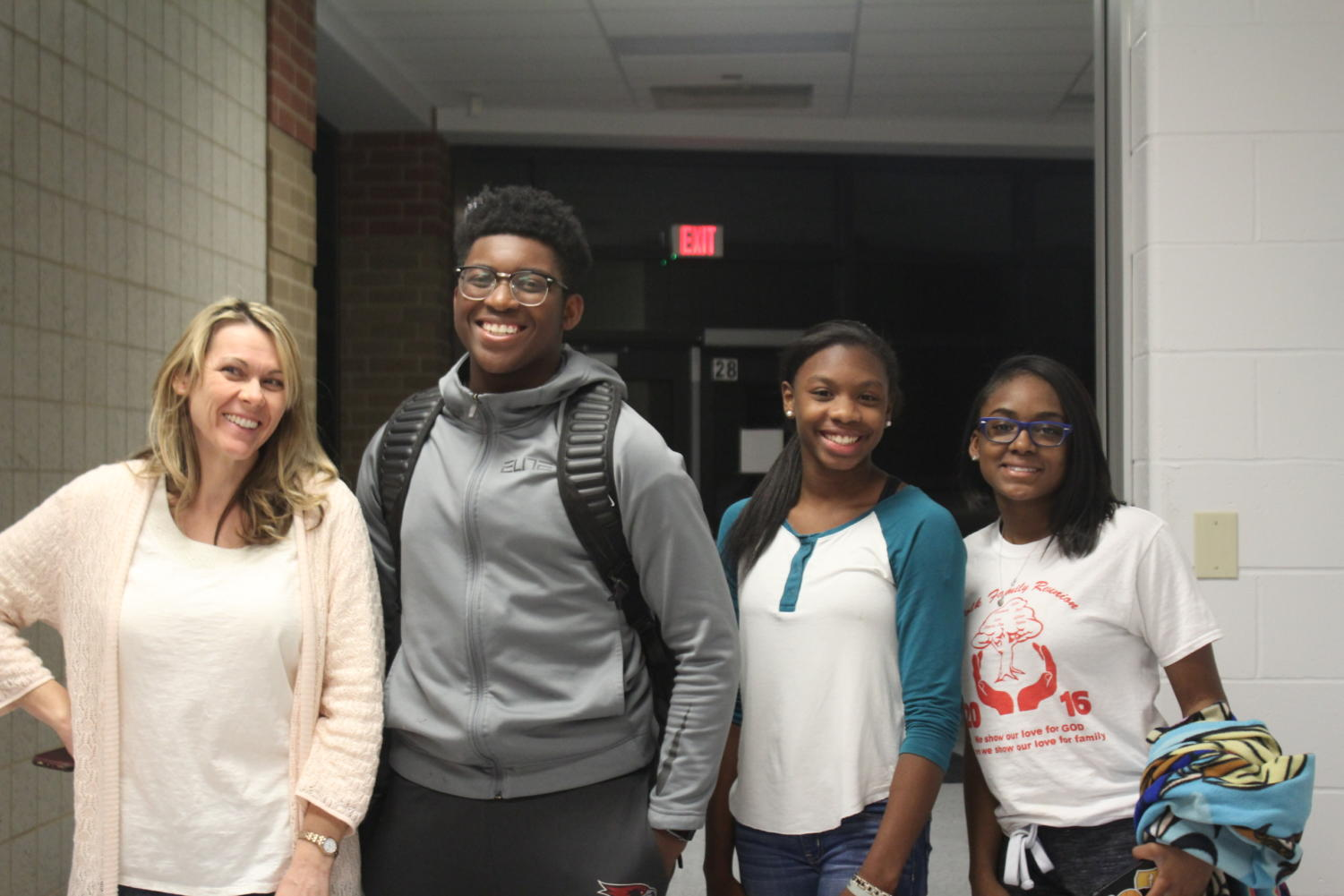 (From left to right) Diversity Club sponsor Ms. Borders, Club president junior Tai Williams, freshman Karlie Wooten and freshman Le'Shay Watkins.