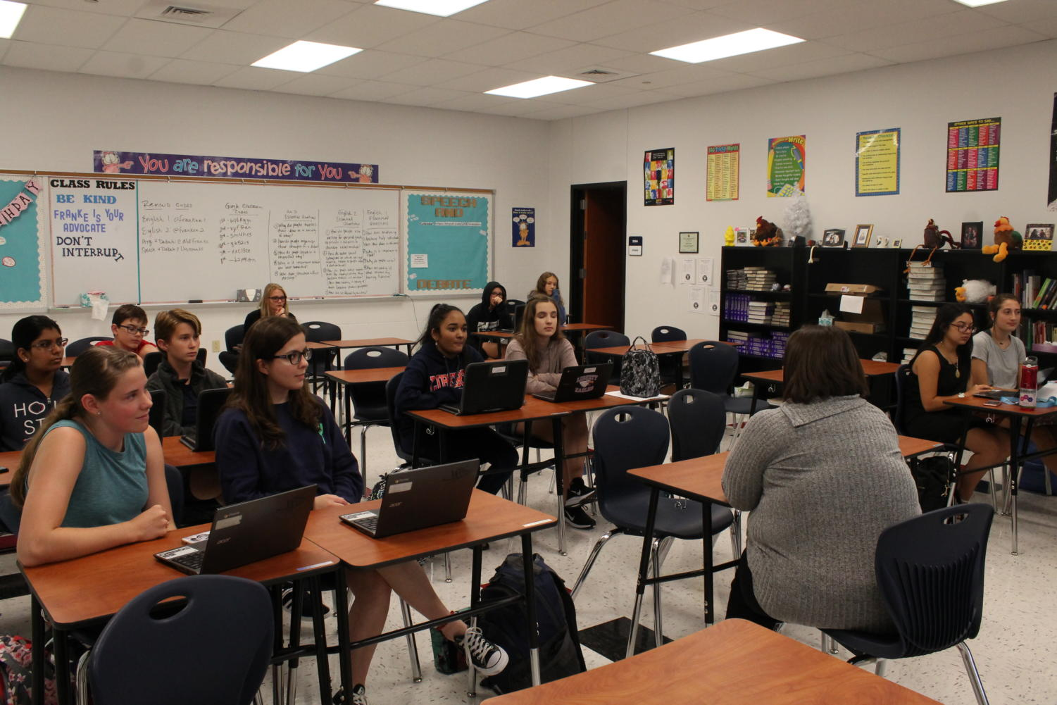 Speech and debate is a club that welcomes all grade levels and encourages students, new and old, to try speech and debate. It is always accepting new members.