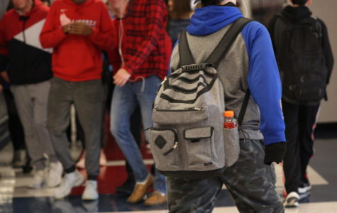 Students travel the halls during passing period.