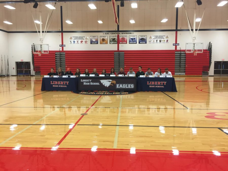 There+were+14+Liberty+athletes+who+officially+signed+with+their+respective+colleges+Wednesday.+