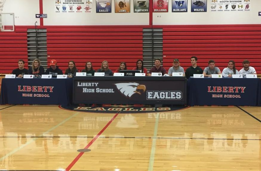 There were 14 Liberty athletes who officially signed with their respective colleges Wednesday.