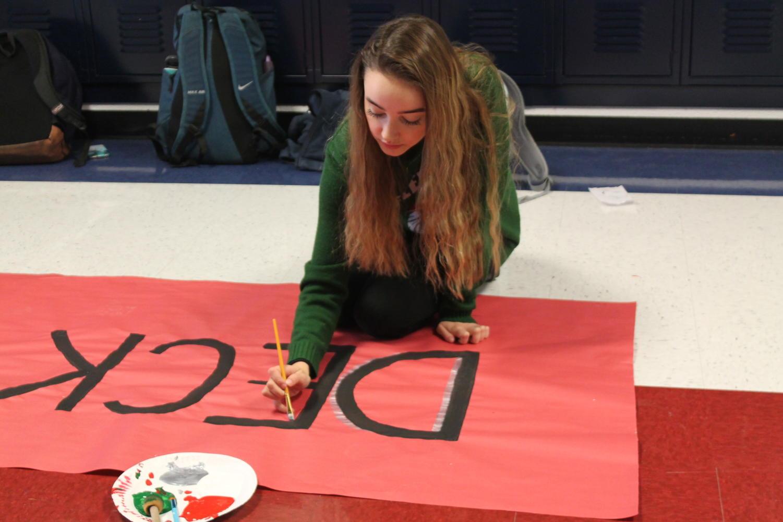 Grace Pickering (10) paints the