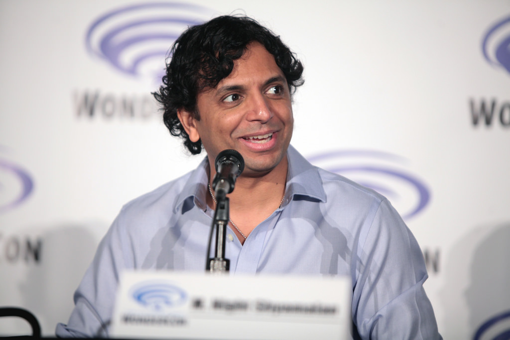 M. Night Shyamalan promotes Glass at a convention. He seemed optimistic about the ending of his very own superhero trilogy.
