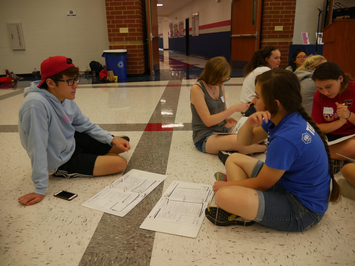 Seniors Christian Tebeau and Maya Angeles tell each other about their life stories as part of a four day training event in the summer for Link Crew.