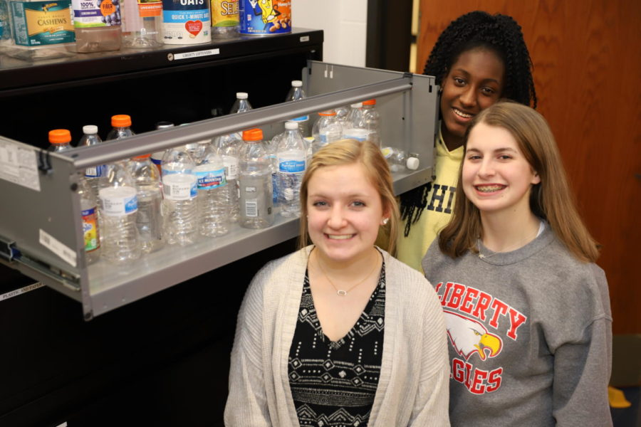 (Left to right) Aly Lough, Brianna Mills and Jade Moore went around the school and collected bottles for two weeks, for their FCCLA project. They  ended up with 100 bottles to be used for various future school projects.