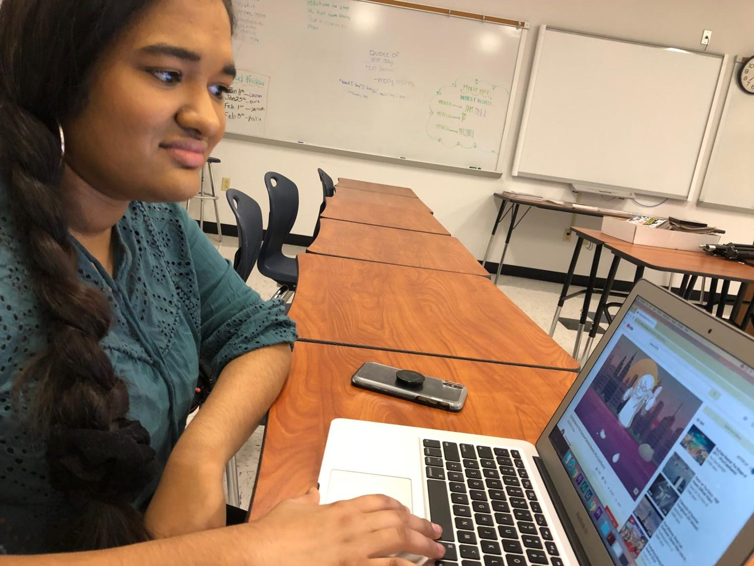Freshman Sruthi Ramesh watches the 2018 Youtube Rewind video.