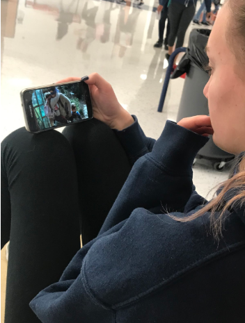 Freshman Christina O'Mara watches the new Netflix film Birdbox. In a recent tweet, Netflix said that more than 45 million accounts watched its Sandra Bullock-led thriller in the film's first week, making it one of the most popular films of 2018.