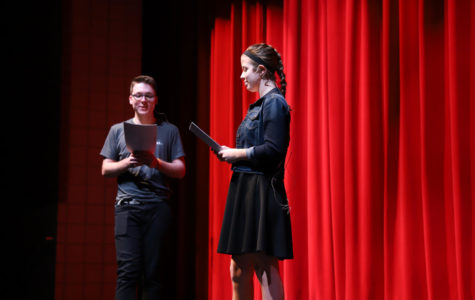 Hosts Cameron Jones (left) and Mikayla Bowman (right) practice hosting the show.