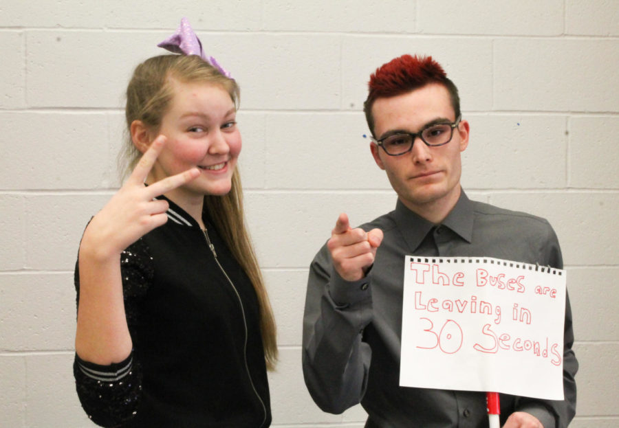 Seniors Sylvia Young and Jose Vazquez are decked out as memes popular to Liberty as JoJo Siwa and principal Nelson for Monday's Who memes the most to you? theme day.