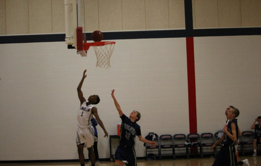 Freshman Jordan Smith makes an easy two-pointer against Timberland.