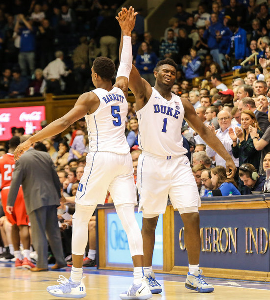 Zion+Williamson+and+RJ+Barrett+make+up+half+of+the+Core+Four+and+are+the+freshman+tag+team+of+Duke+basketball.+You+better+believe+Duke+will+go+far+with+these+two+leading+the+team%2C+even+if+Williamson+is+doing+so+from+the+bench.