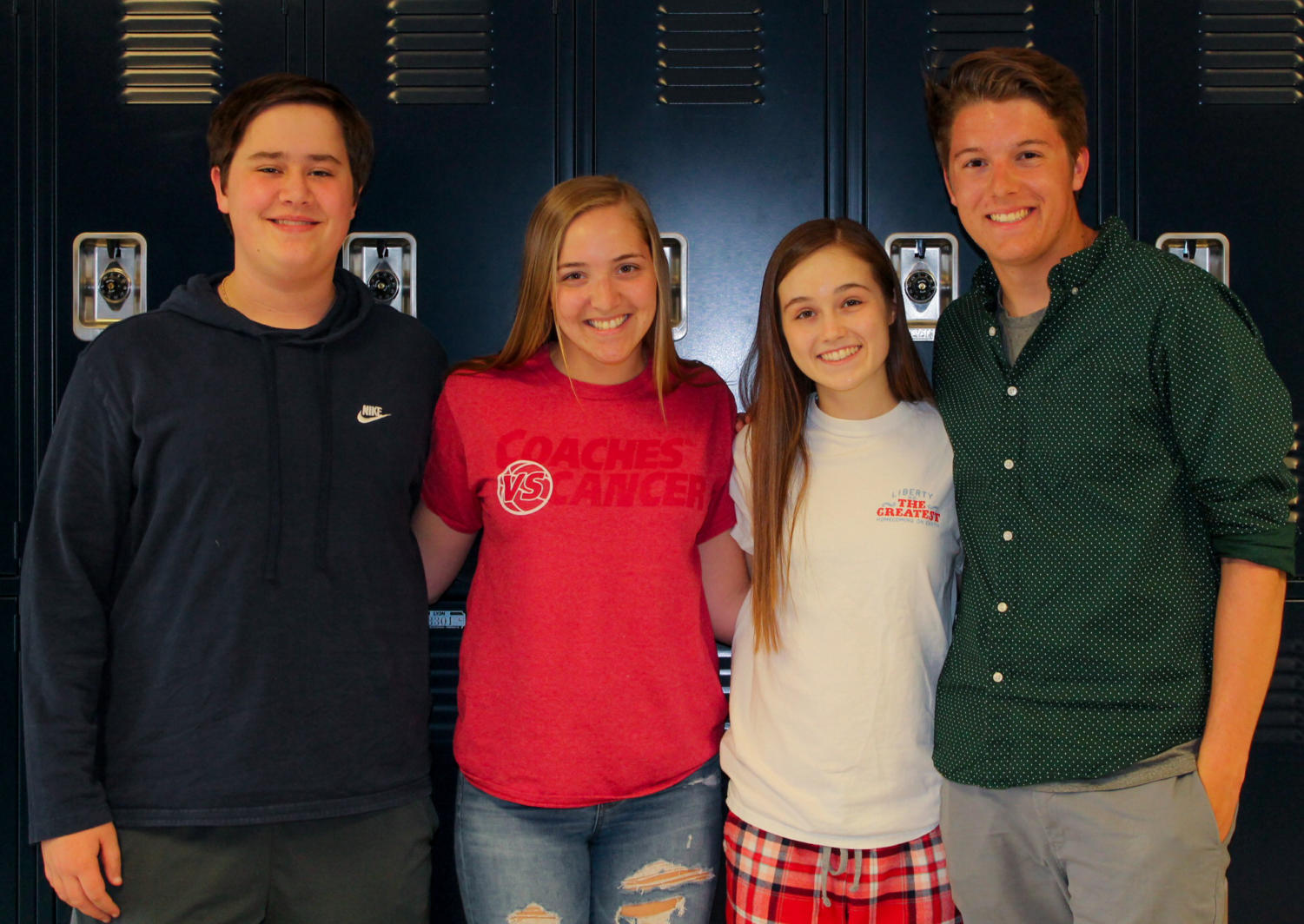 Left to right: Sam Ardery and Hannah Behlmann are running mates against Aimee Weber and Zach Kerns. The group has worked together in StuCo throughout the year.