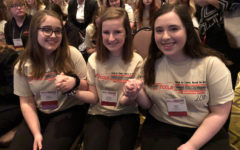 Emma Benesek, Audrey Chambers and Katelyn Yoder of FCCLA eagerly wait for placement results at the state competition.