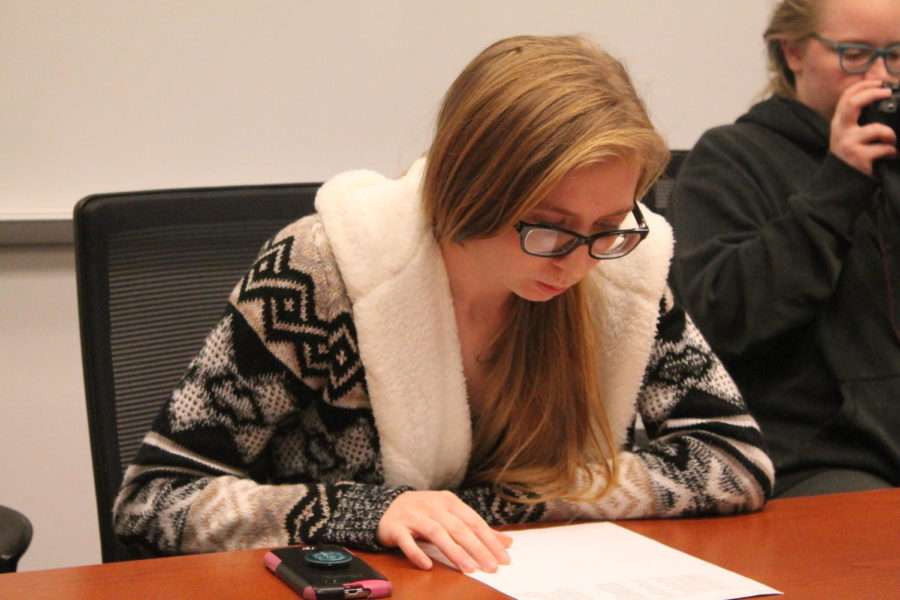 Marissa Pukala- Whitaker discusses the de-stress event at a Come Together meeting.