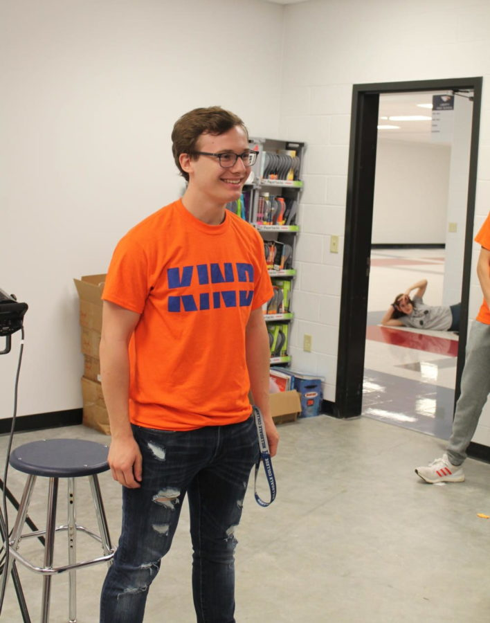 Senior Carson Brown poses for picture as part of the Be Kind project.