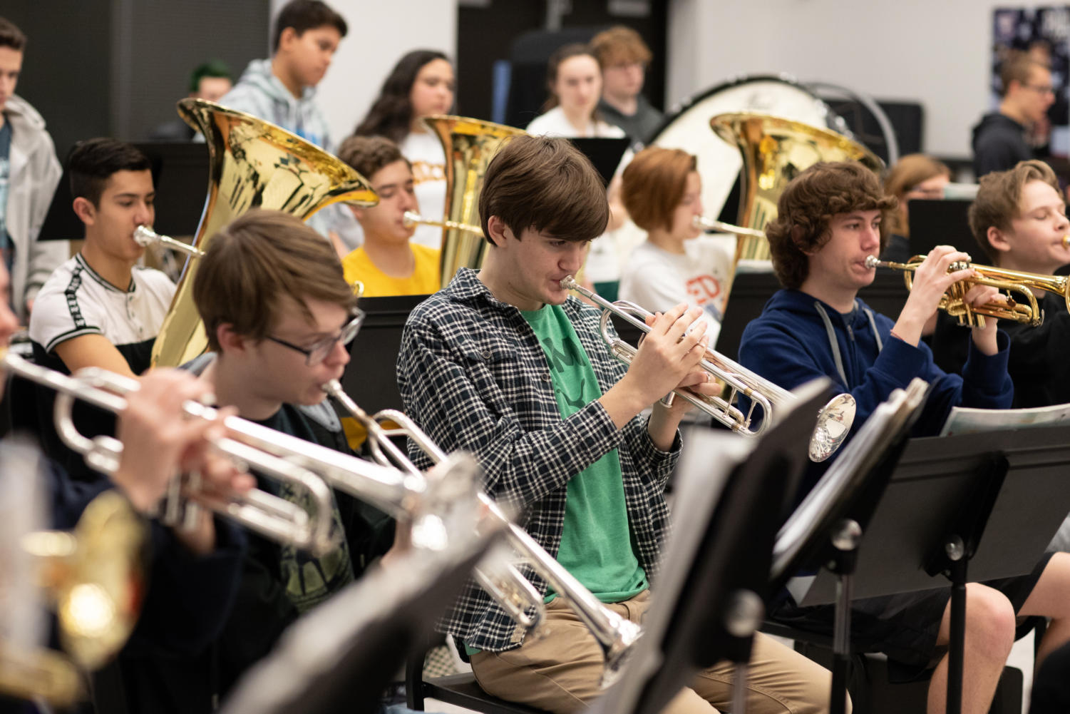Junior Jim Tarrant finds a new home within Liberty's many communities, one of them being band.