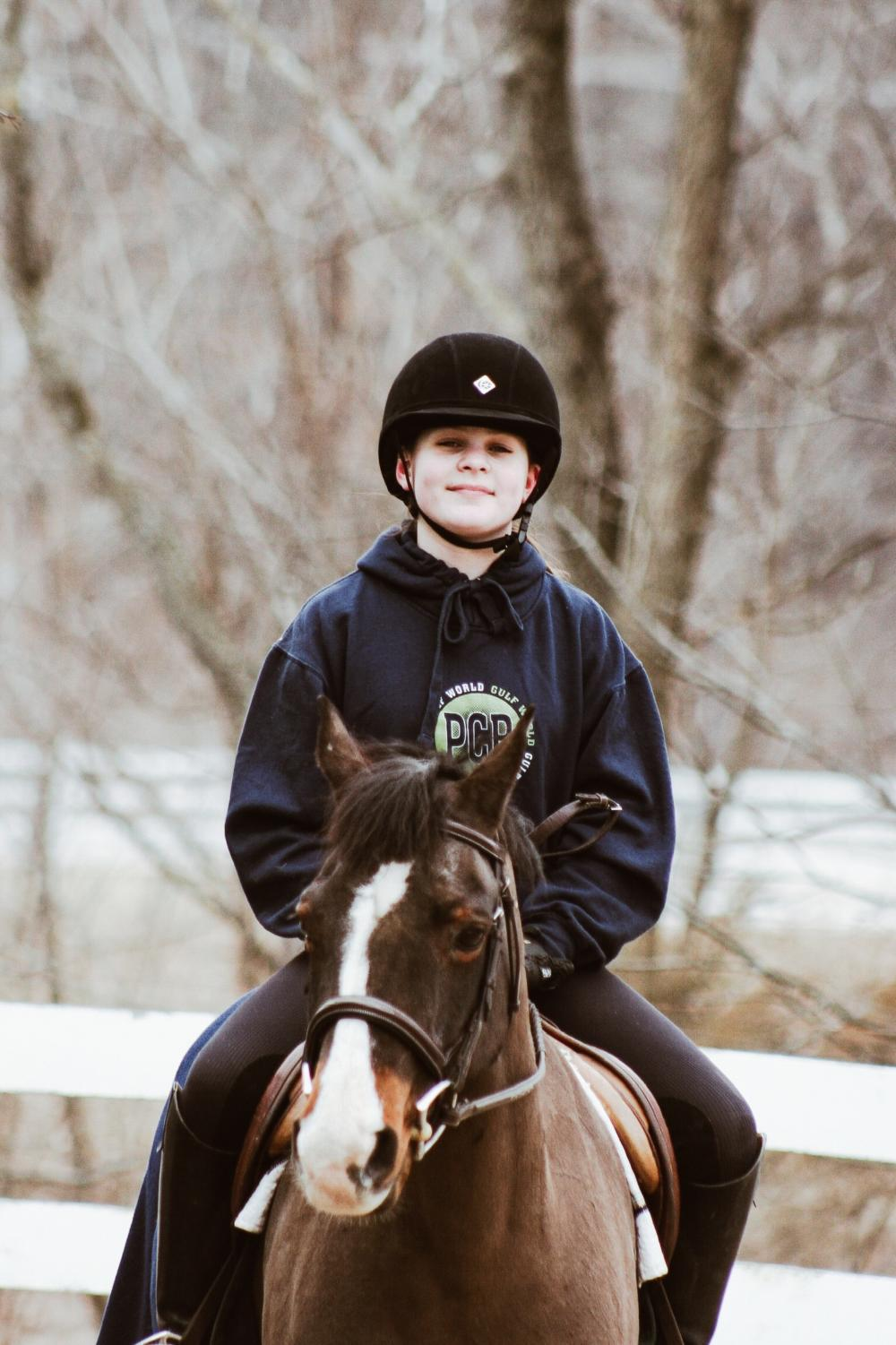 Shelby Hunt on her pony, Gus.