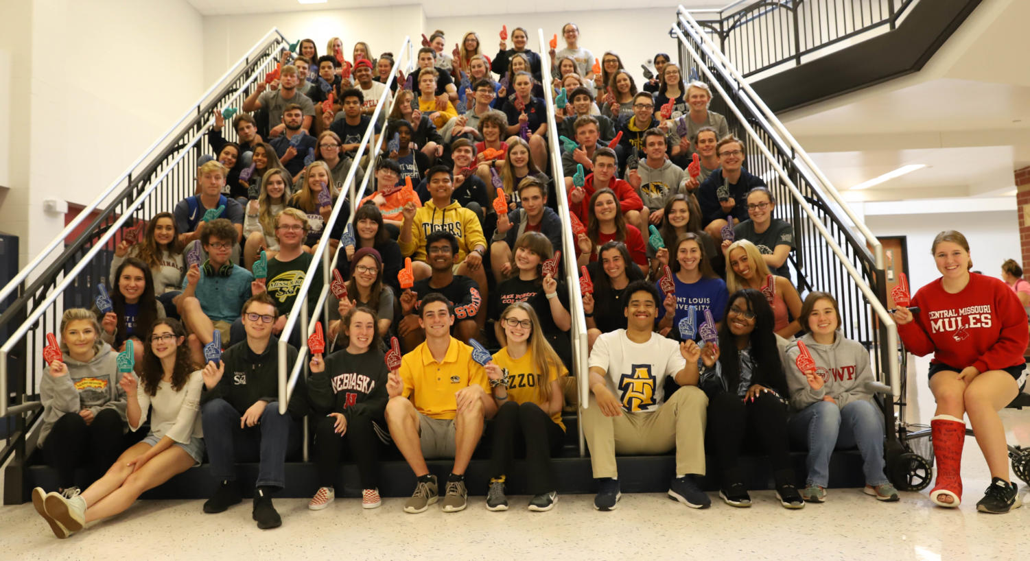 Many seniors proudly wear their college shirt for  National Decision Day.