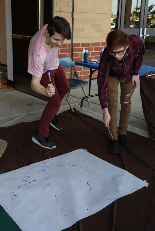 The splatter paint booth was a fun (and messy) way to relieve stress. Students went outside and flung paint onto a piece of paper with a paint brush. It was an unexpected hit at the De-Stress event.