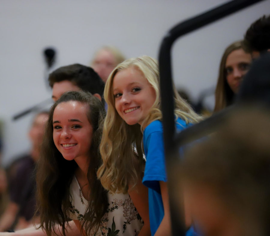 Senior+Kaitlyn+Hudson+%28left%29+and+junior+Molly+Morris+smile+for+the+picture+at+the+assembly.+
