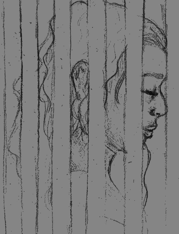 A drawing of a girl behind bars, depicts the depressing mood of prison.