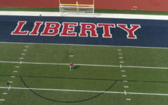 A birds-eye view of the Liberty football field. For the first time, the homecoming dance will take place on the football field this year.