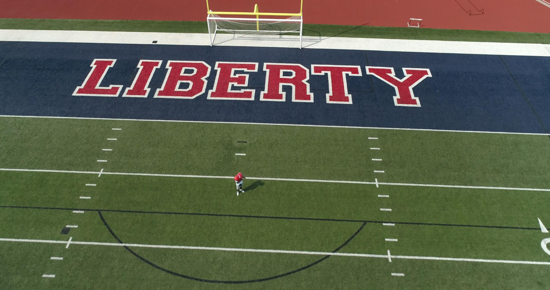 A bird's-eye view of the Liberty football field.